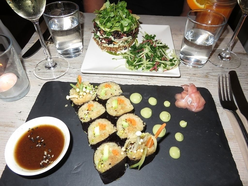 """Photo of CLOSED: Nama Artisan Raw Foods  by <a href=""""/members/profile/TrudiBruges"""">TrudiBruges</a> <br/>terrine and sushi at Raw vegan restaurant NAMA foods, London <br/> November 22, 2016  - <a href='/contact/abuse/image/36686/193155'>Report</a>"""