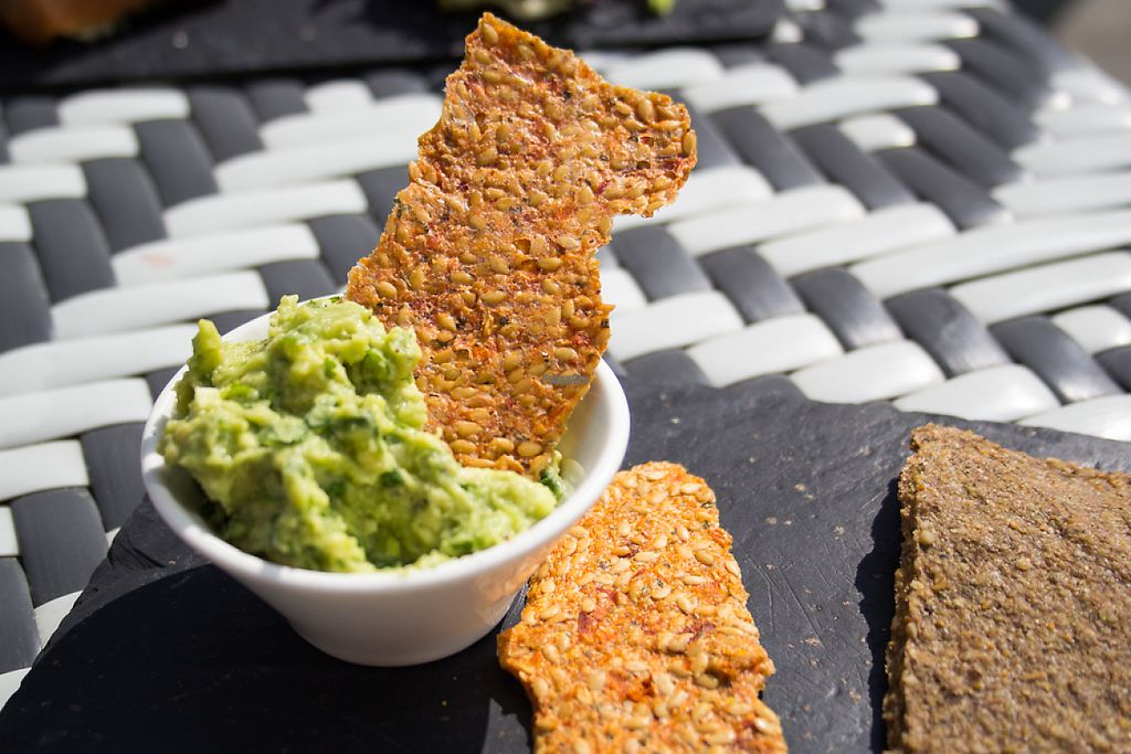 """Photo of CLOSED: Nama Artisan Raw Foods  by <a href=""""/members/profile/loloford"""">loloford</a> <br/>Crackers and guacamole <br/> April 17, 2017  - <a href='/contact/abuse/image/36686/249318'>Report</a>"""