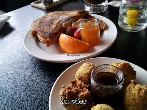 """Photo of CLOSED: Hillbilly Tea  by <a href=""""/members/profile/xsamx"""">xsamx</a> <br/>Vegan pancakes and fried tofu balls <br/> February 6, 2013  - <a href='/contact/abuse/image/36739/43919'>Report</a>"""