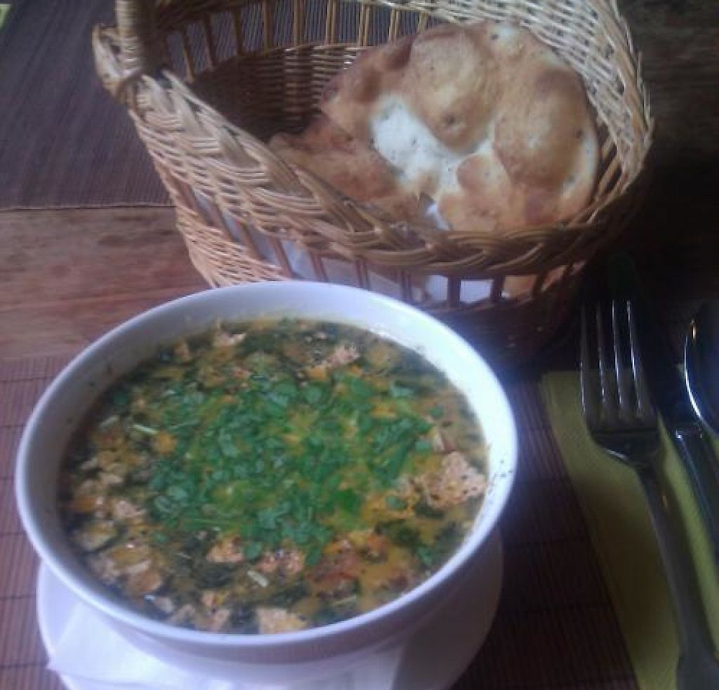 """Photo of Elevant  by <a href=""""/members/profile/Merryaurora"""">Merryaurora</a> <br/>Lentil soup served with fresh Naan bread (5€ the whole set) <br/> October 12, 2013  - <a href='/contact/abuse/image/36743/237565'>Report</a>"""