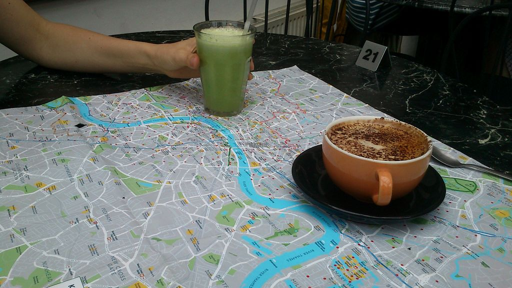 """Photo of The Gallery Cafe  by <a href=""""/members/profile/citizenInsane"""">citizenInsane</a> <br/>Gallery Cafe, cappuccino and green juice <br/> August 16, 2016  - <a href='/contact/abuse/image/3676/169265'>Report</a>"""