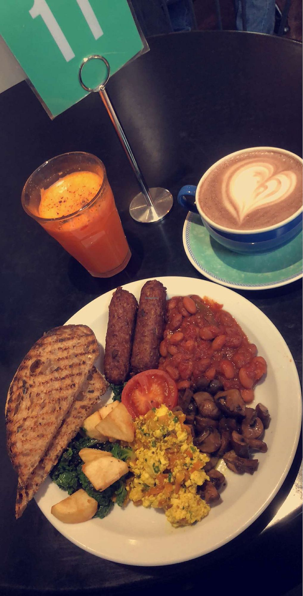 """Photo of The Gallery Cafe  by <a href=""""/members/profile/AtiyaDavids"""">AtiyaDavids</a> <br/>Full English with hot chocolate and turmeric, carrot, black pepper juice <br/> April 2, 2018  - <a href='/contact/abuse/image/3676/379774'>Report</a>"""