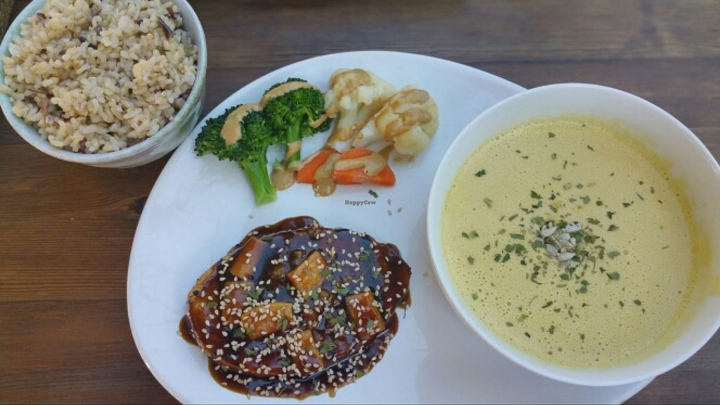 """Photo of VegiLicious  by <a href=""""/members/profile/anne420"""">anne420</a> <br/>Grilled 'chicken' teriyaki with veggies, 5 grain rice and corn chowder. Delicious!  <br/> February 16, 2016  - <a href='/contact/abuse/image/36781/136646'>Report</a>"""