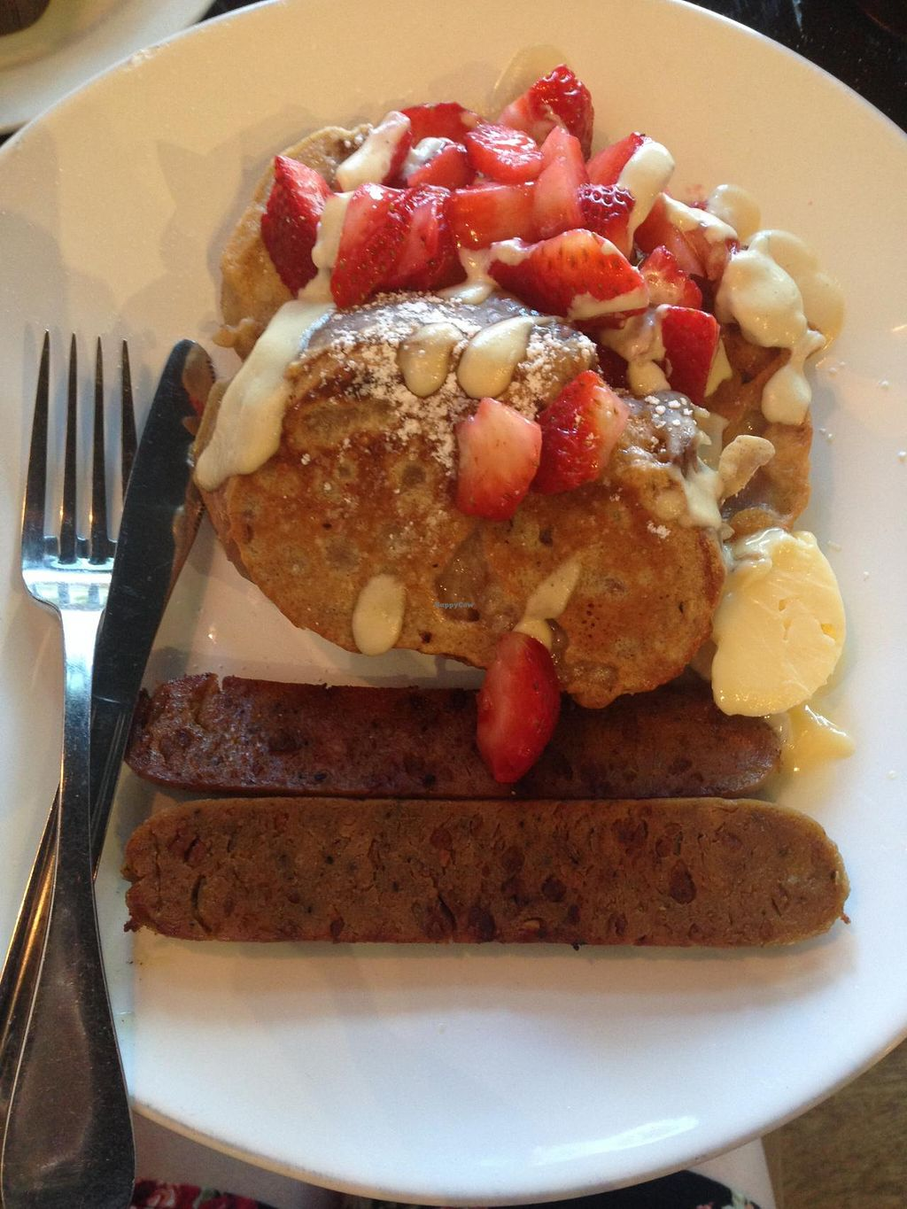 "Photo of Timeless Coffee Roasters and Bakery  by <a href=""/members/profile/jamiemichelle_xvx"">jamiemichelle_xvx</a> <br/>Strawberry French Toast with vegan apple sage sausage <br/> June 5, 2014  - <a href='/contact/abuse/image/36793/71404'>Report</a>"