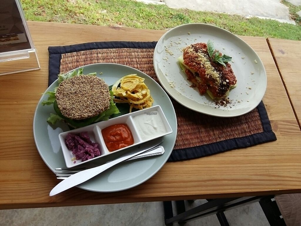 """Photo of Atsumi Raw Cafe  by <a href=""""/members/profile/vegelicacy"""">vegelicacy</a> <br/>burger and lasagna <br/> January 20, 2017  - <a href='/contact/abuse/image/36812/213575'>Report</a>"""