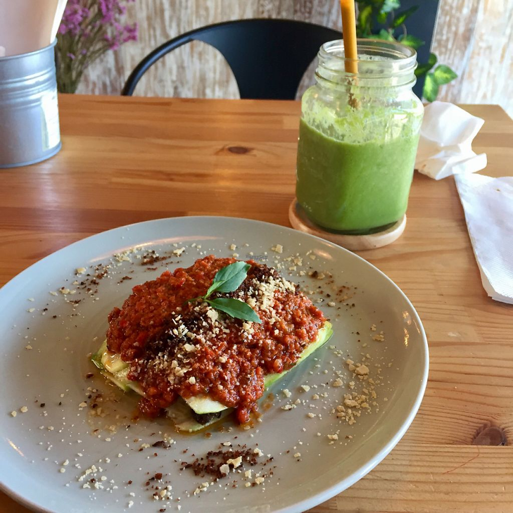 """Photo of Atsumi Raw Cafe  by <a href=""""/members/profile/D0mmi"""">D0mmi</a> <br/>Raw lasagna with Green Basil Smoothie <br/> April 30, 2017  - <a href='/contact/abuse/image/36812/254076'>Report</a>"""