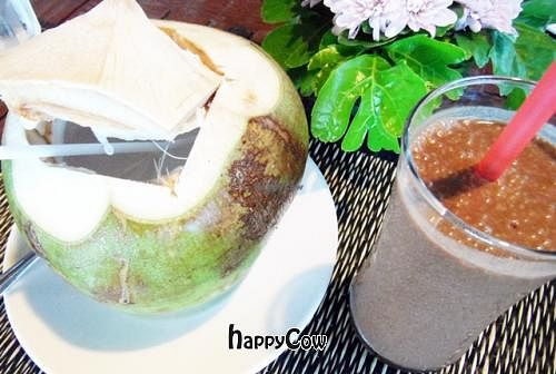 """Photo of Atsumi Raw Cafe  by <a href=""""/members/profile/VeganAngels"""">VeganAngels</a> <br/>Fresh Coconut and Raw Chocolate Protein Shake - Try This <br/> February 8, 2013  - <a href='/contact/abuse/image/36812/43995'>Report</a>"""