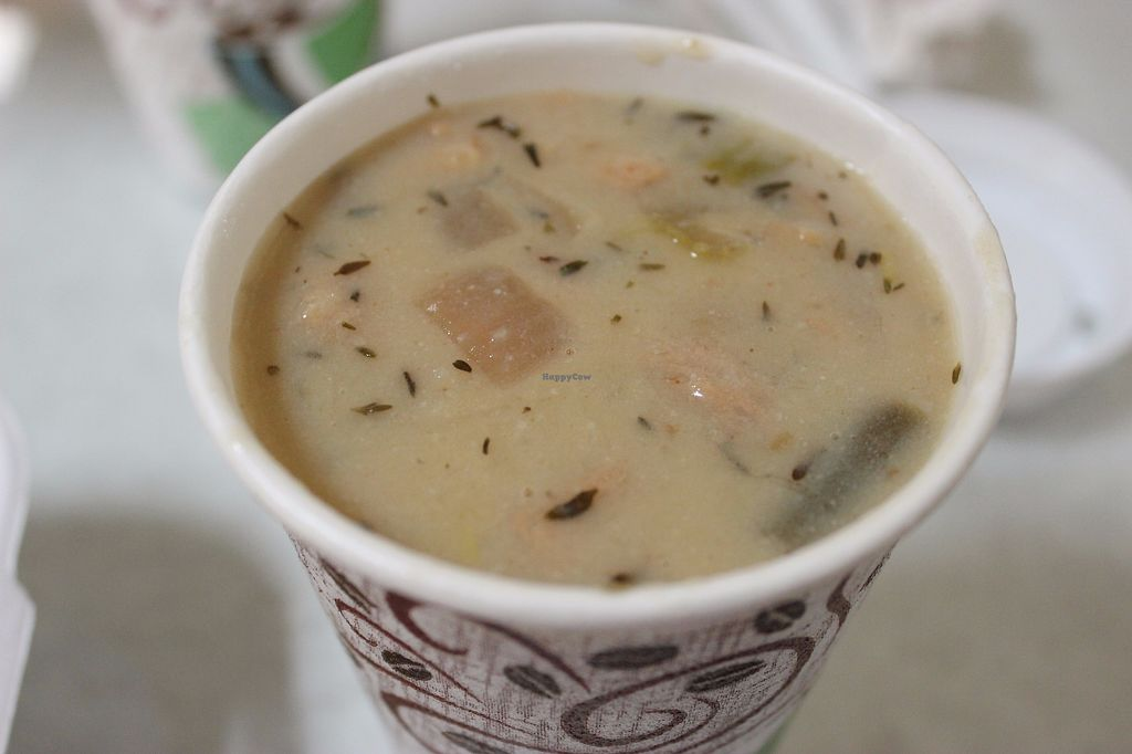 """Photo of Rainbow Natural Grocery Cooperative  by <a href=""""/members/profile/veggie_htx"""">veggie_htx</a> <br/>Creamy vegan chicken and rice soup <br/> September 16, 2017  - <a href='/contact/abuse/image/3685/305164'>Report</a>"""