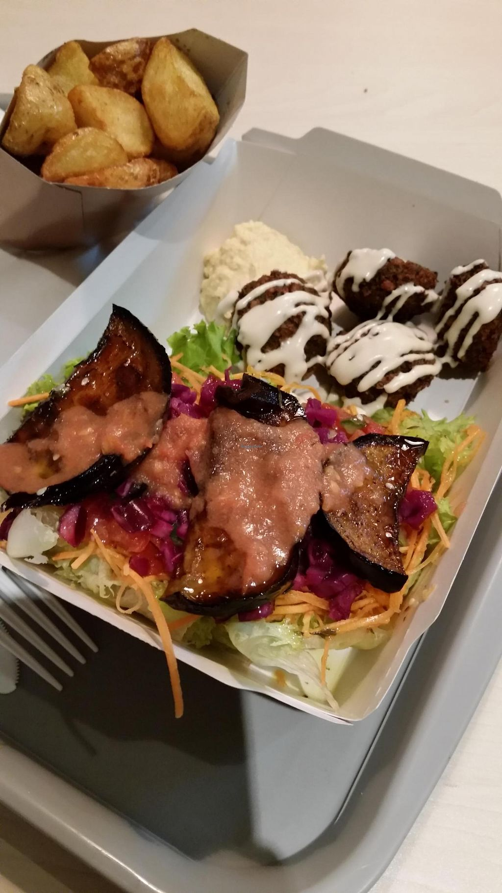 """Photo of Yaafa - D'Algerie  by <a href=""""/members/profile/stephaniekh"""">stephaniekh</a> <br/>Falafel plate at Yaafa. The eggplant was especially good <br/> January 10, 2015  - <a href='/contact/abuse/image/36881/90036'>Report</a>"""