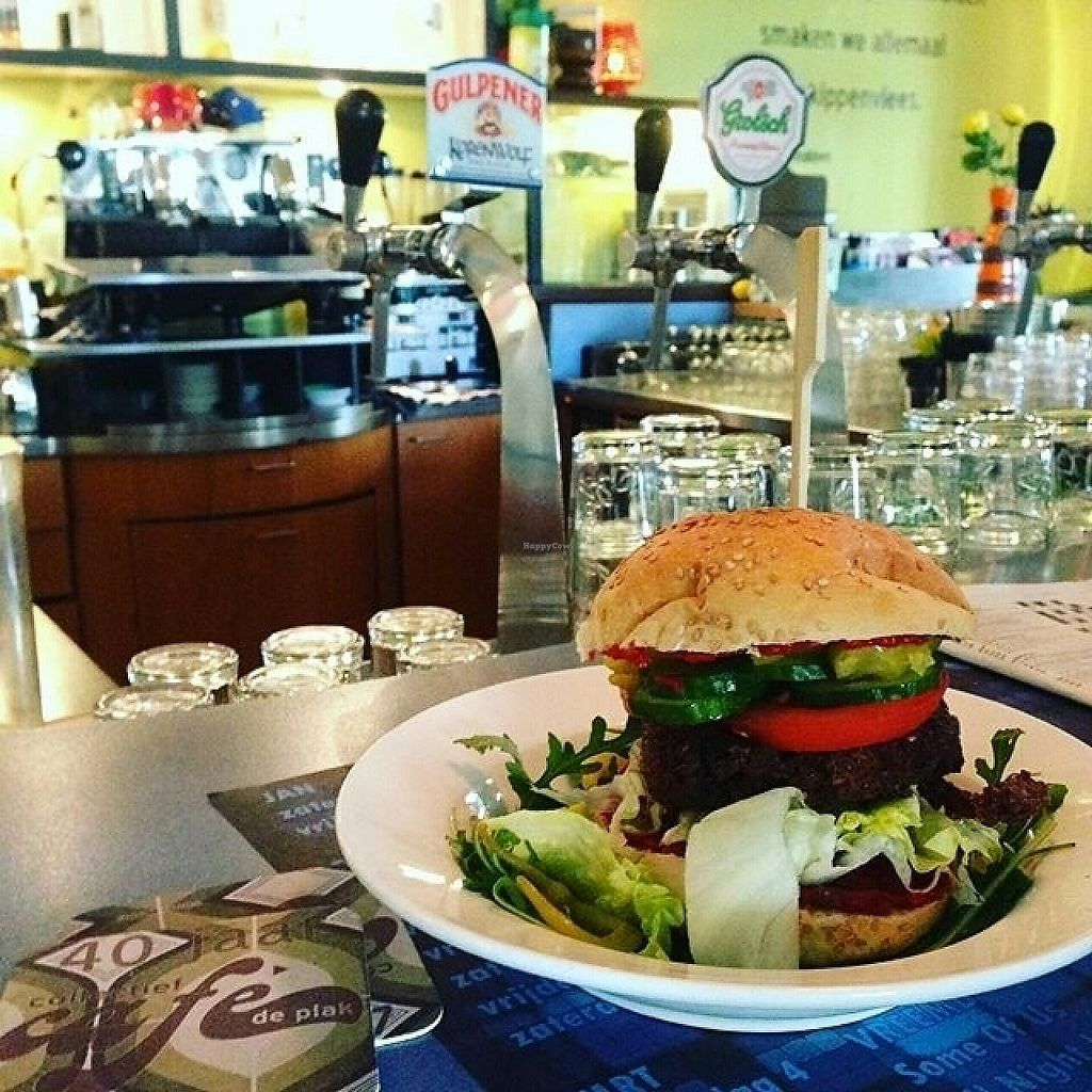 "Photo of Cafe de Plak  by <a href=""/members/profile/aniareyouok"">aniareyouok</a> <br/>vegan tofu burger <br/> May 19, 2017  - <a href='/contact/abuse/image/36921/260303'>Report</a>"