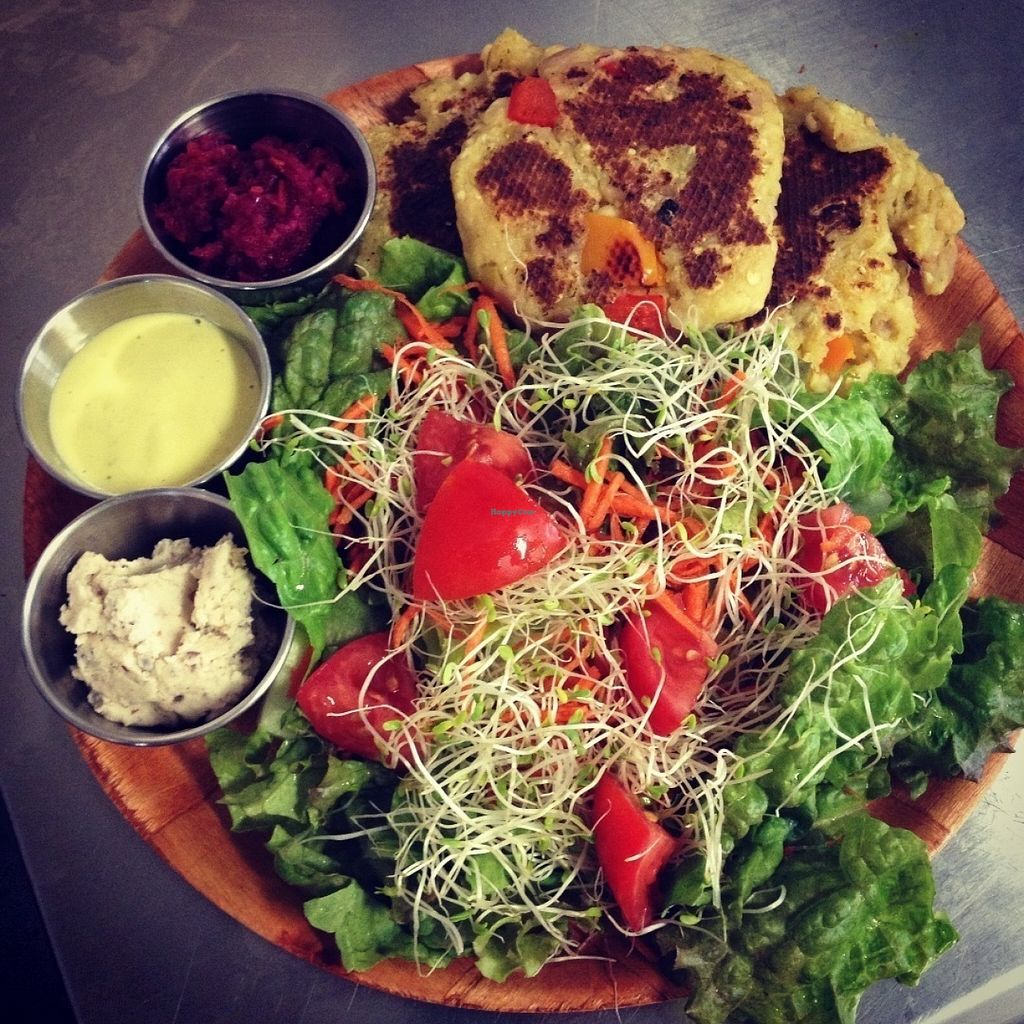 Photo of Sweet Cane Cafe  by SweetCaneCafe <br/>Farm Fare Salad with Ulu Jalapeño Fritters <br/> July 19, 2016  - <a href='/contact/abuse/image/36939/160966'>Report</a>