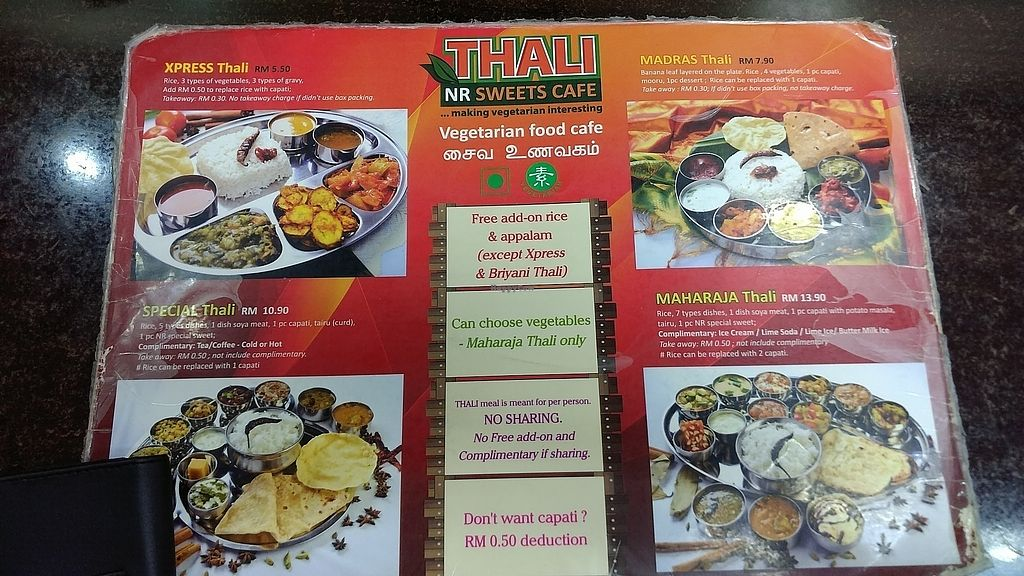 """Photo of Thali NR Sweets Cafe  by <a href=""""/members/profile/vegelover"""">vegelover</a> <br/>Our favourite Indian Vegetarian Restaurant in Penang <br/> January 7, 2018  - <a href='/contact/abuse/image/36947/343789'>Report</a>"""