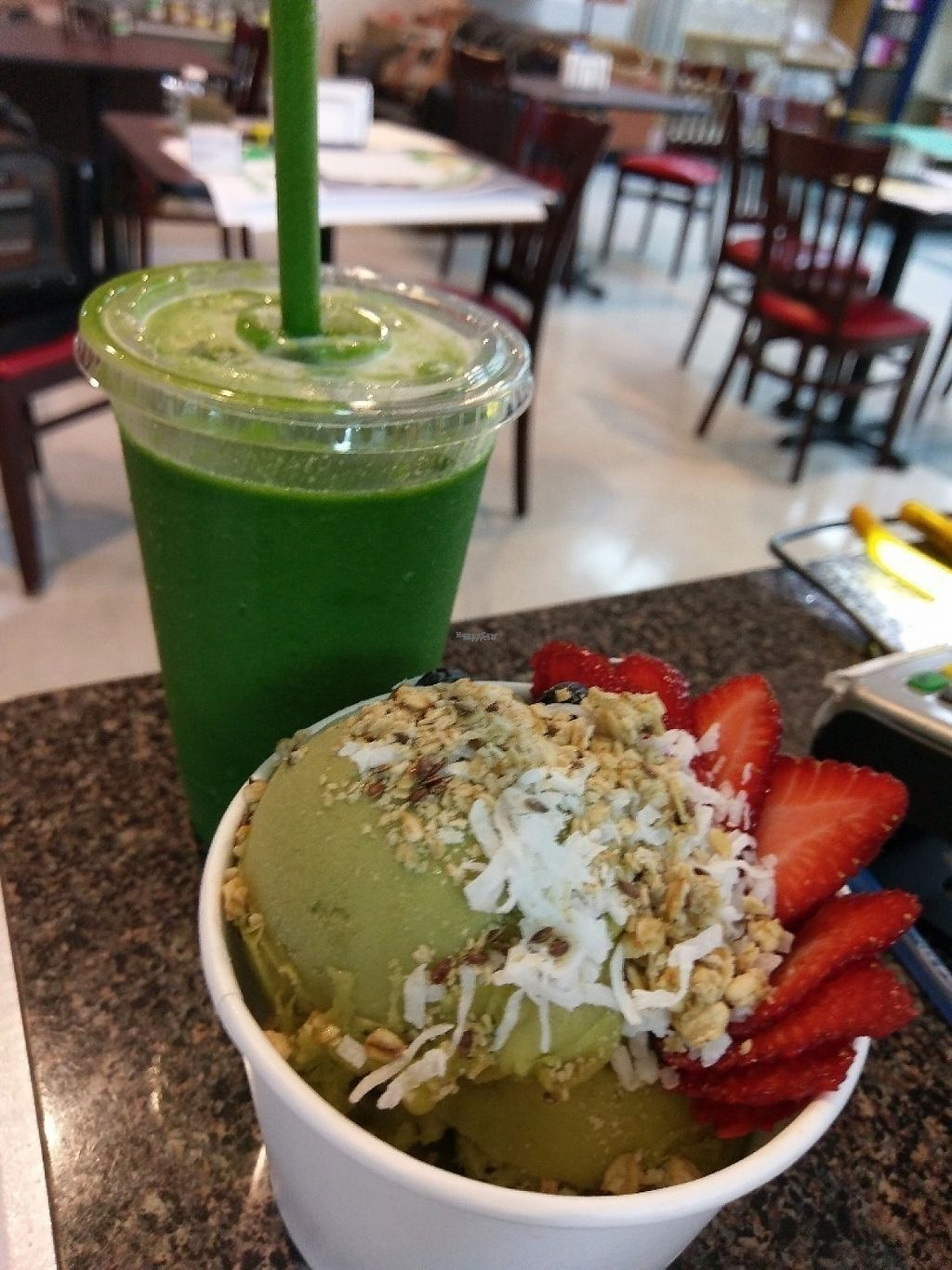 """Photo of Nutrition Shoppe Juice and Sandwich Bar  by <a href=""""/members/profile/Ricks"""">Ricks</a> <br/>Popeye and green match bowl <br/> April 9, 2017  - <a href='/contact/abuse/image/37007/246266'>Report</a>"""