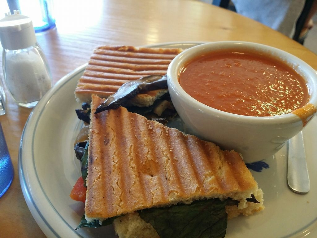 "Photo of GoodLife Cafe and Bakery  by <a href=""/members/profile/purplesnowcone"">purplesnowcone</a> <br/>vegan pannini with red pepper soup <br/> July 24, 2017  - <a href='/contact/abuse/image/37010/284491'>Report</a>"
