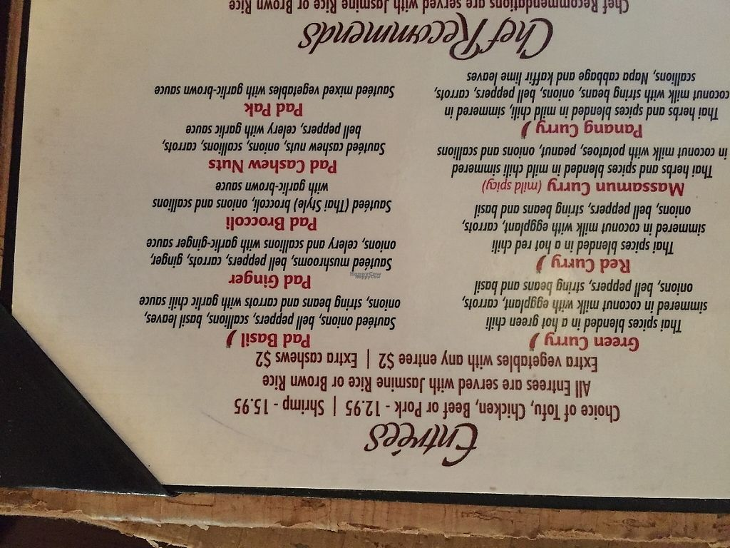 """Photo of Cravin Thai  by <a href=""""/members/profile/SavoyTruffle"""">SavoyTruffle</a> <br/>The curries (in the left column) all contain fish sauce, so they cannot be made vegan. The """"pad"""" dishes in the right column can be made vegan, without fish sauce <br/> March 5, 2017  - <a href='/contact/abuse/image/37012/232834'>Report</a>"""