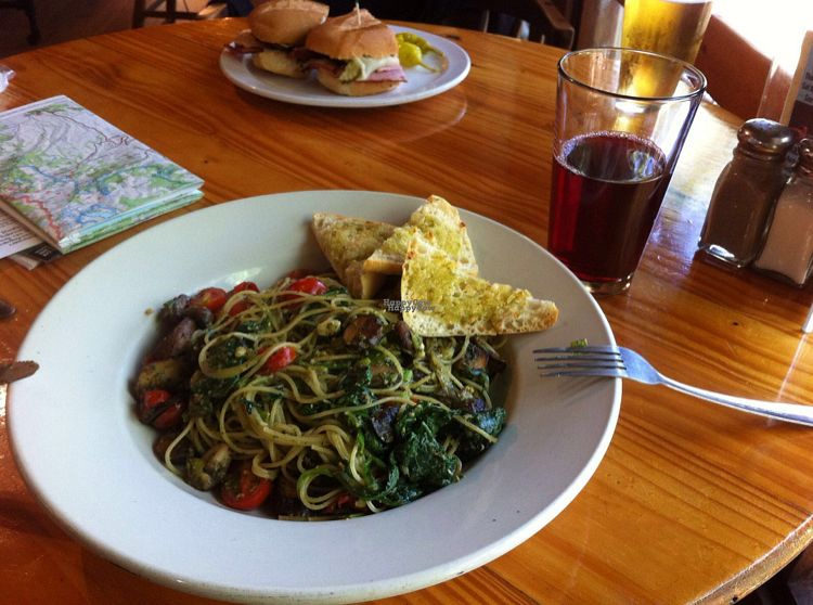 """Photo of Cafe at The Yosemite Bug  by <a href=""""/members/profile/RiaMcmahon"""">RiaMcmahon</a> <br/>vegan pesto pasta <br/> September 8, 2016  - <a href='/contact/abuse/image/37043/174231'>Report</a>"""