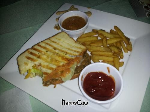 """Photo of CLOSED: Rawsheed's Raw Vegan Fusion  by <a href=""""/members/profile/pgnlvr22b"""">pgnlvr22b</a> <br/>Stomping Horse Seitan-Gluten free bread,Kute Blackson unchicken seitan,mayo,cheeze,lettuce,tomatoes,pickles, mustard and choice of sauce <br/> February 23, 2013  - <a href='/contact/abuse/image/37123/44611'>Report</a>"""