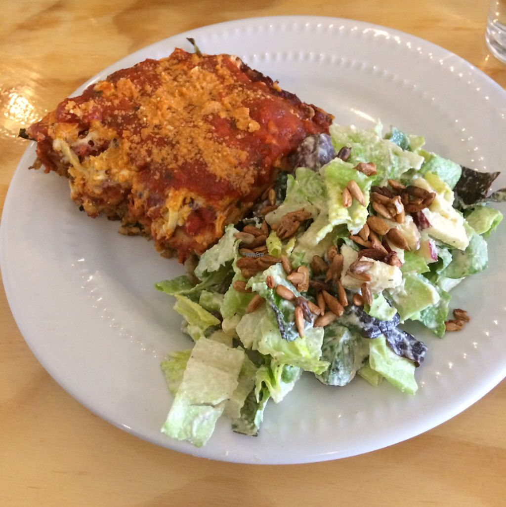 "Photo of Greens Organic Cafe and Market  by <a href=""/members/profile/H-bob"">H-bob</a> <br/>Excellent Lasagna and ""Caesar "" salad <br/> March 30, 2017  - <a href='/contact/abuse/image/37125/242724'>Report</a>"