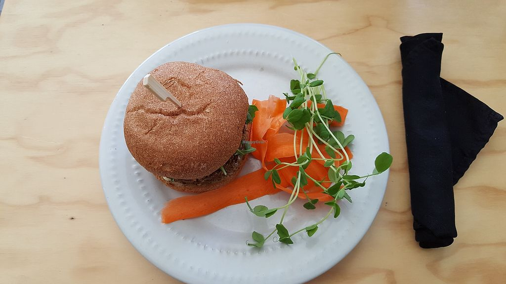 "Photo of Greens Organic Cafe and Market  by <a href=""/members/profile/plantbasedandready"">plantbasedandready</a> <br/>Yummy burger <br/> April 4, 2018  - <a href='/contact/abuse/image/37125/380575'>Report</a>"