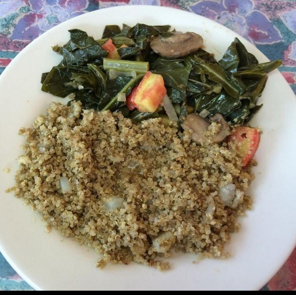 "Photo of Two Vegan Sistas  by <a href=""/members/profile/Genniferjuniper"">Genniferjuniper</a> <br/>Mediterranean Quinoa with Southern Collard Greens   <br/> August 30, 2014  - <a href='/contact/abuse/image/37157/78664'>Report</a>"