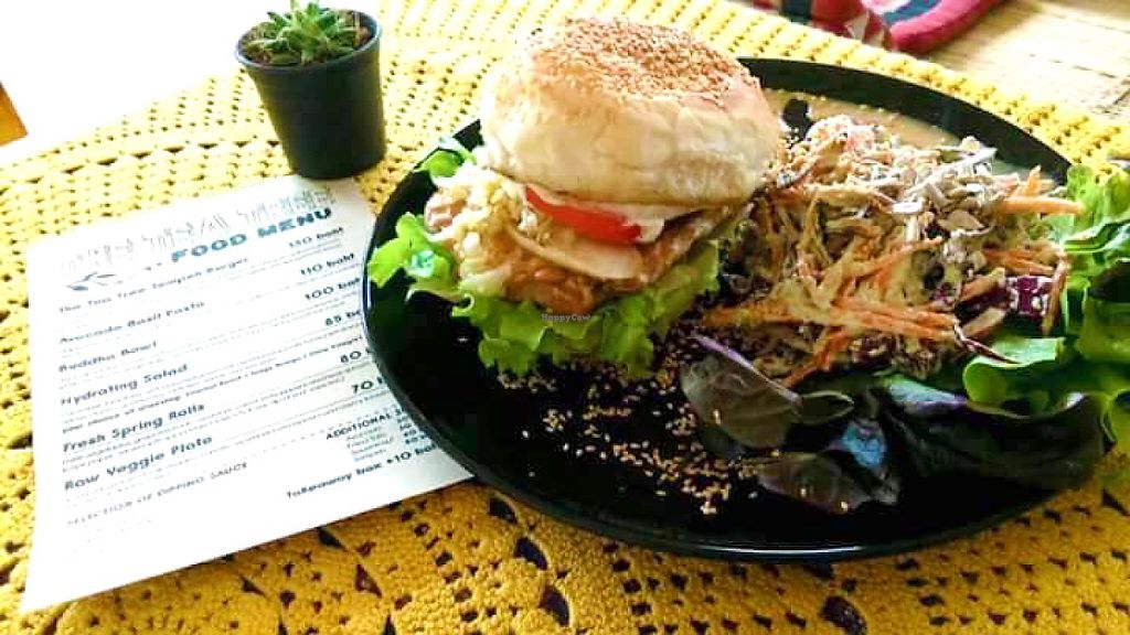 """Photo of CLOSED: The Tea Tree Cafe  by <a href=""""/members/profile/NokkThanchanok"""">NokkThanchanok</a> <br/>Tea Tree Tempeh Burger <br/> May 7, 2017  - <a href='/contact/abuse/image/37169/256570'>Report</a>"""