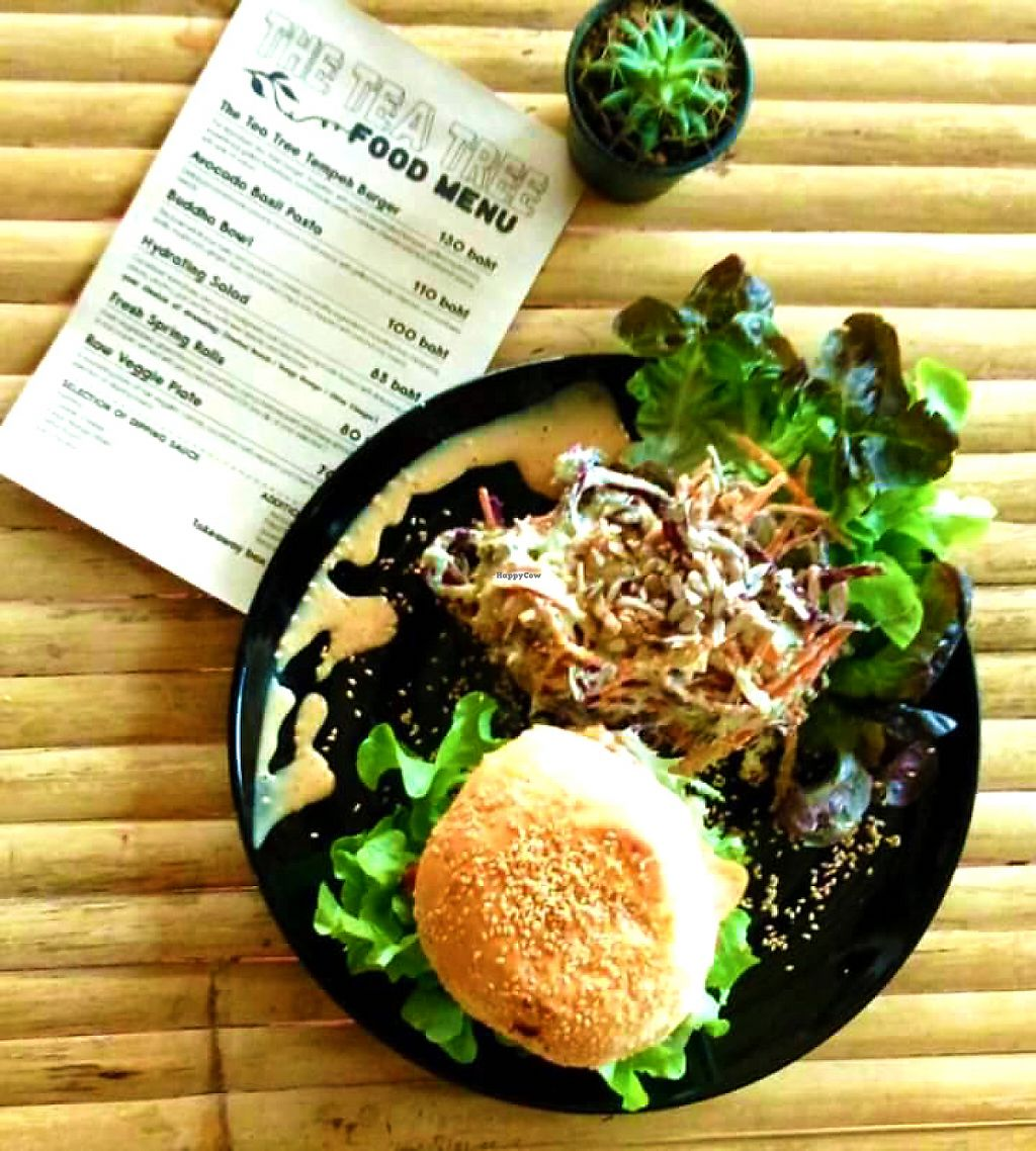 """Photo of CLOSED: The Tea Tree Cafe  by <a href=""""/members/profile/NokkThanchanok"""">NokkThanchanok</a> <br/>Tempeh burger  <br/> May 7, 2017  - <a href='/contact/abuse/image/37169/256574'>Report</a>"""