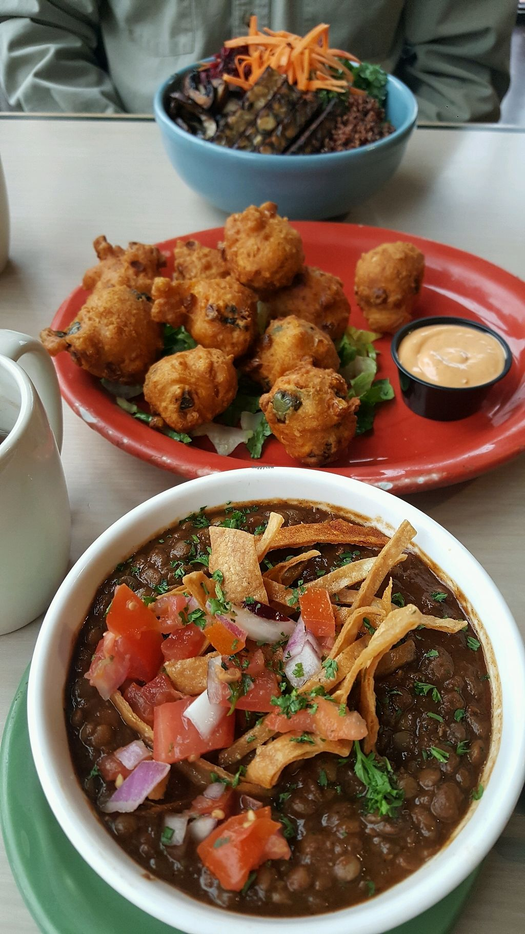 """Photo of Senor Veggie  by <a href=""""/members/profile/DonnaMiller"""">DonnaMiller</a> <br/>Texas lentil chili & poblano corn fritters <br/> December 16, 2017  - <a href='/contact/abuse/image/37190/336217'>Report</a>"""