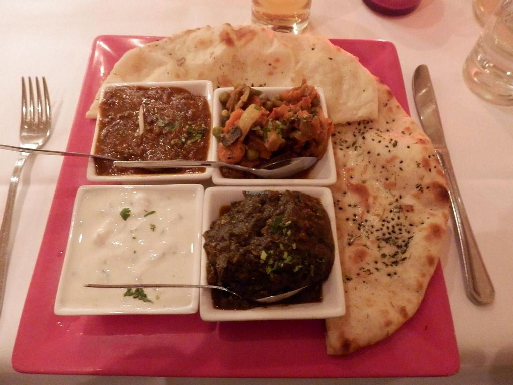"""Photo of Nirvana  by <a href=""""/members/profile/CarlosGP"""">CarlosGP</a> <br/>Vegetarian Thali (basmati rice on the side, not shown) <br/> December 10, 2014  - <a href='/contact/abuse/image/37193/87649'>Report</a>"""