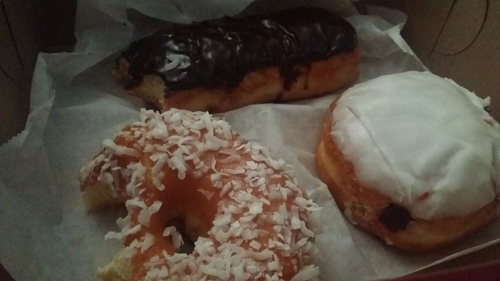 """Photo of The Donuttery  by <a href=""""/members/profile/veganmonster"""">veganmonster</a> <br/>Forgot to take a pic before I starting munching on them! <br/> August 23, 2015  - <a href='/contact/abuse/image/37197/114907'>Report</a>"""