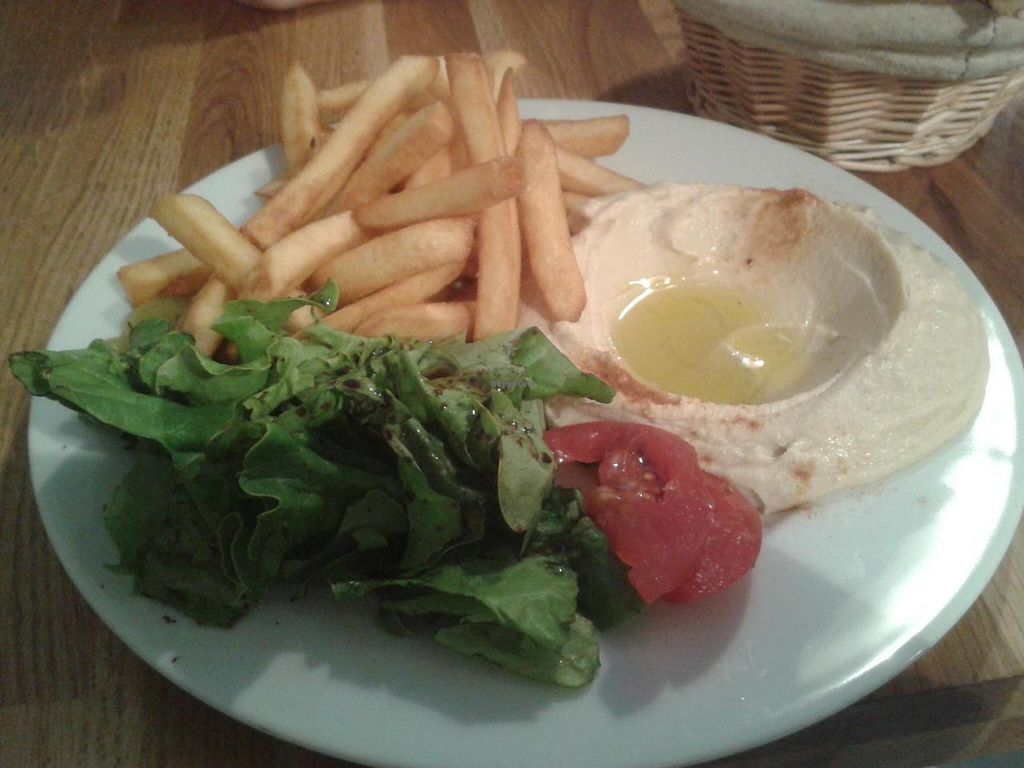 """Photo of Al-saj  by <a href=""""/members/profile/JonJon"""">JonJon</a> <br/>Hummus with salad and fries <br/> June 25, 2014  - <a href='/contact/abuse/image/37206/72704'>Report</a>"""