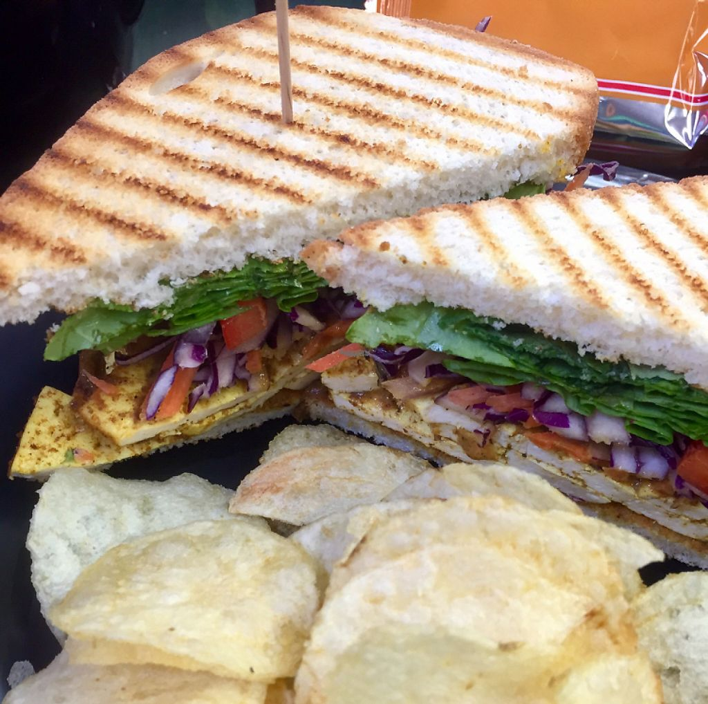 """Photo of Grindhouse Cafe  by <a href=""""/members/profile/happycowgirl"""">happycowgirl</a> <br/>Tofu curry sandwich (vegan)  <br/> November 14, 2016  - <a href='/contact/abuse/image/37268/190216'>Report</a>"""