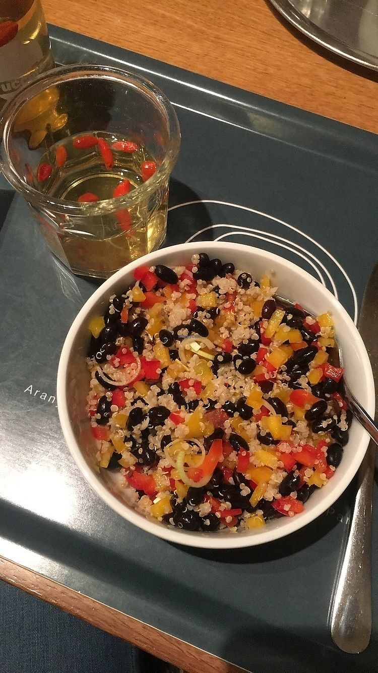 """Photo of Fruccola  by <a href=""""/members/profile/EllieRoberts"""">EllieRoberts</a> <br/>Mexican quinoa salad and goji berry lemonade  <br/> February 15, 2018  - <a href='/contact/abuse/image/37276/359715'>Report</a>"""
