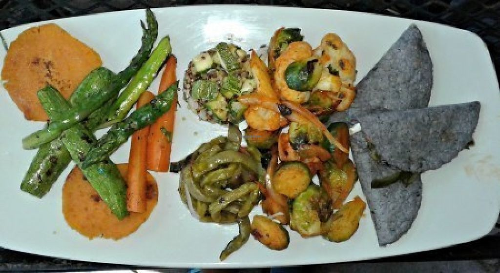 """Photo of Hugo's  by <a href=""""/members/profile/carnivoresandvegans"""">carnivoresandvegans</a> <br/>Vegetable Plate - Vegan I believe except for the cheese on the quesadillas <br/> May 14, 2017  - <a href='/contact/abuse/image/37283/258661'>Report</a>"""