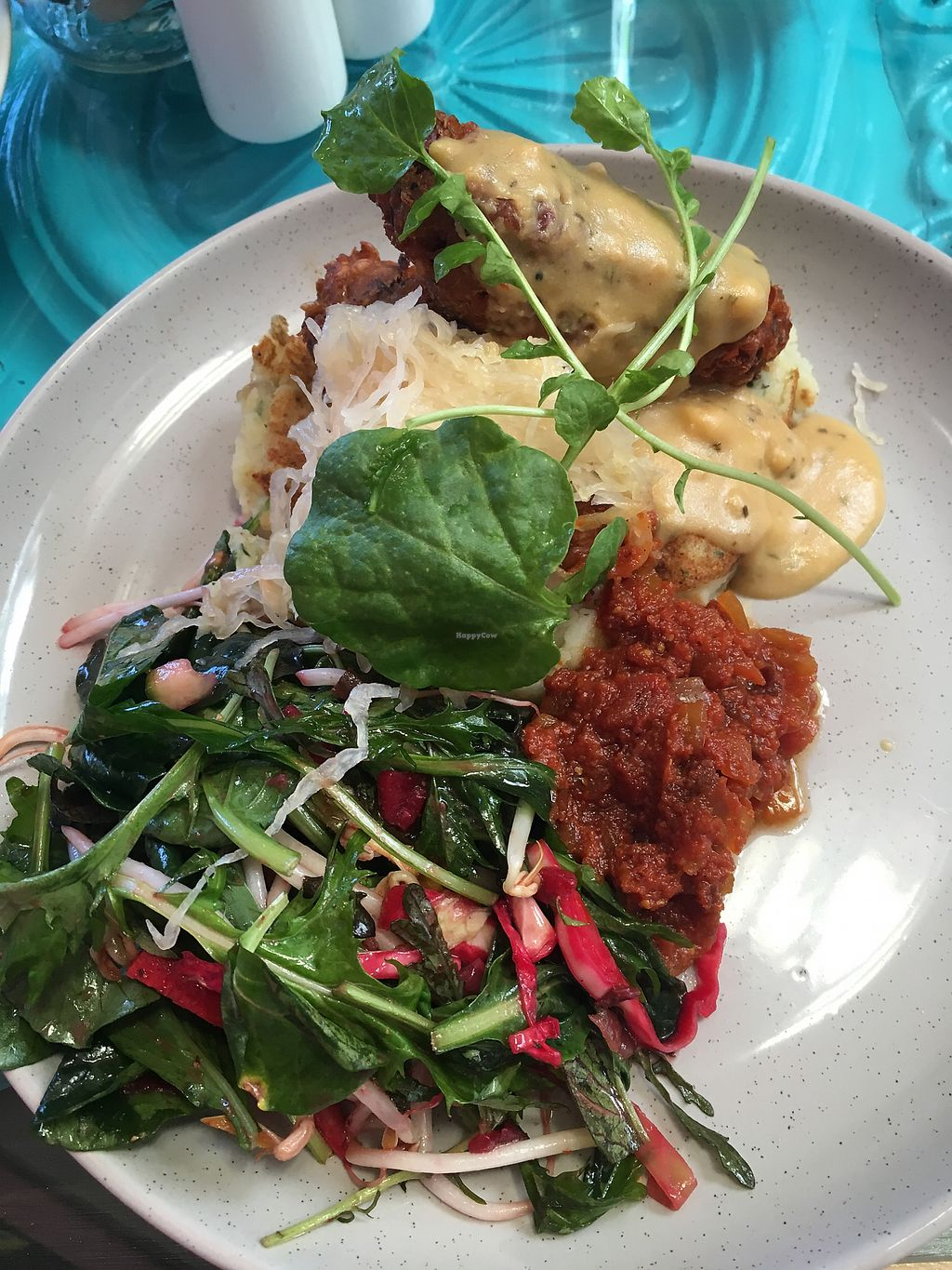 """Photo of East St Vegetarian Cafe and Bar  by <a href=""""/members/profile/perkonius"""">perkonius</a> <br/>Bangers and mash <br/> December 9, 2017  - <a href='/contact/abuse/image/37335/333665'>Report</a>"""