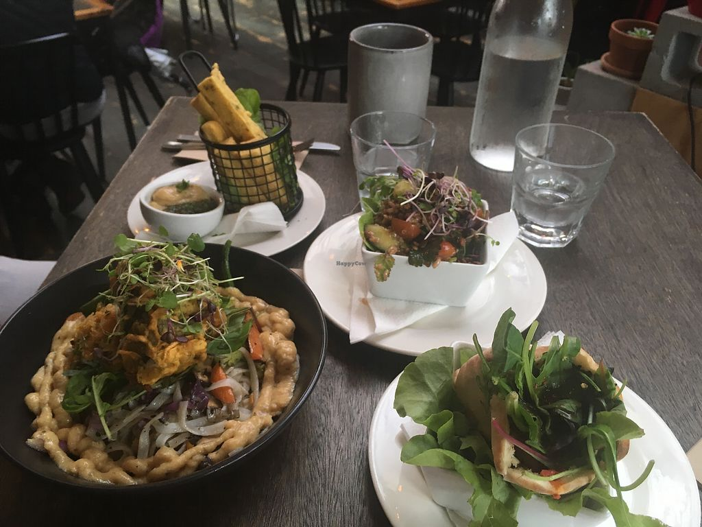 """Photo of East St Vegetarian Cafe and Bar  by <a href=""""/members/profile/meianma"""">meianma</a> <br/>Main course and starters to share. All vegan <br/> February 4, 2018  - <a href='/contact/abuse/image/37335/354735'>Report</a>"""