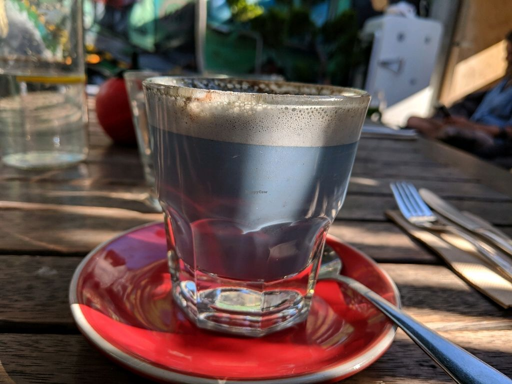 """Photo of East St Vegetarian Cafe and Bar  by <a href=""""/members/profile/jesse558"""">jesse558</a> <br/>Papa Smurf latte (blue latte) <br/> February 22, 2018  - <a href='/contact/abuse/image/37335/362316'>Report</a>"""