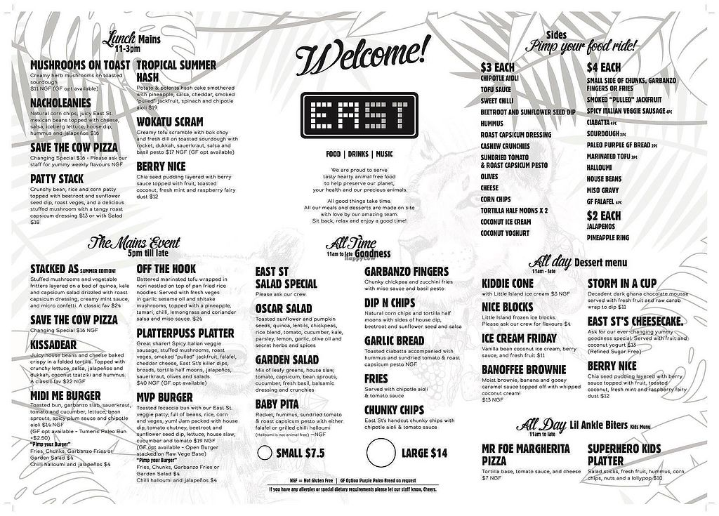 """Photo of East St Vegetarian Cafe and Bar  by <a href=""""/members/profile/AndyTheVWDude"""">AndyTheVWDude</a> <br/>Menu ~ April 2018 <br/> April 16, 2018  - <a href='/contact/abuse/image/37335/386831'>Report</a>"""