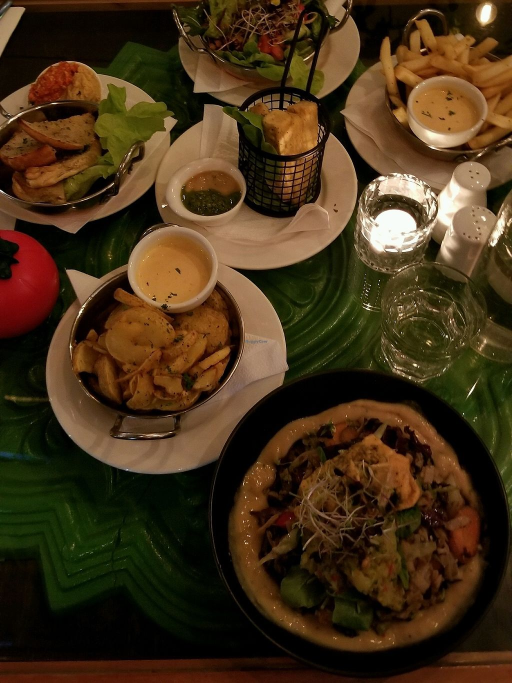 """Photo of East St Vegetarian Cafe and Bar  by <a href=""""/members/profile/AndyTheVWDude"""">AndyTheVWDude</a> <br/>Stack, Garbanzo fingers, Sides ~ All great! <br/> April 16, 2018  - <a href='/contact/abuse/image/37335/386832'>Report</a>"""