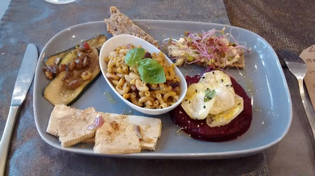 """Photo of Carmen Ragosta  by <a href=""""/members/profile/JonJon"""">JonJon</a> <br/>Dish of the day: vegan cheese with homemade bread, macaroni with red beans, beet creem and vegetables <br/> May 10, 2015  - <a href='/contact/abuse/image/37427/101773'>Report</a>"""