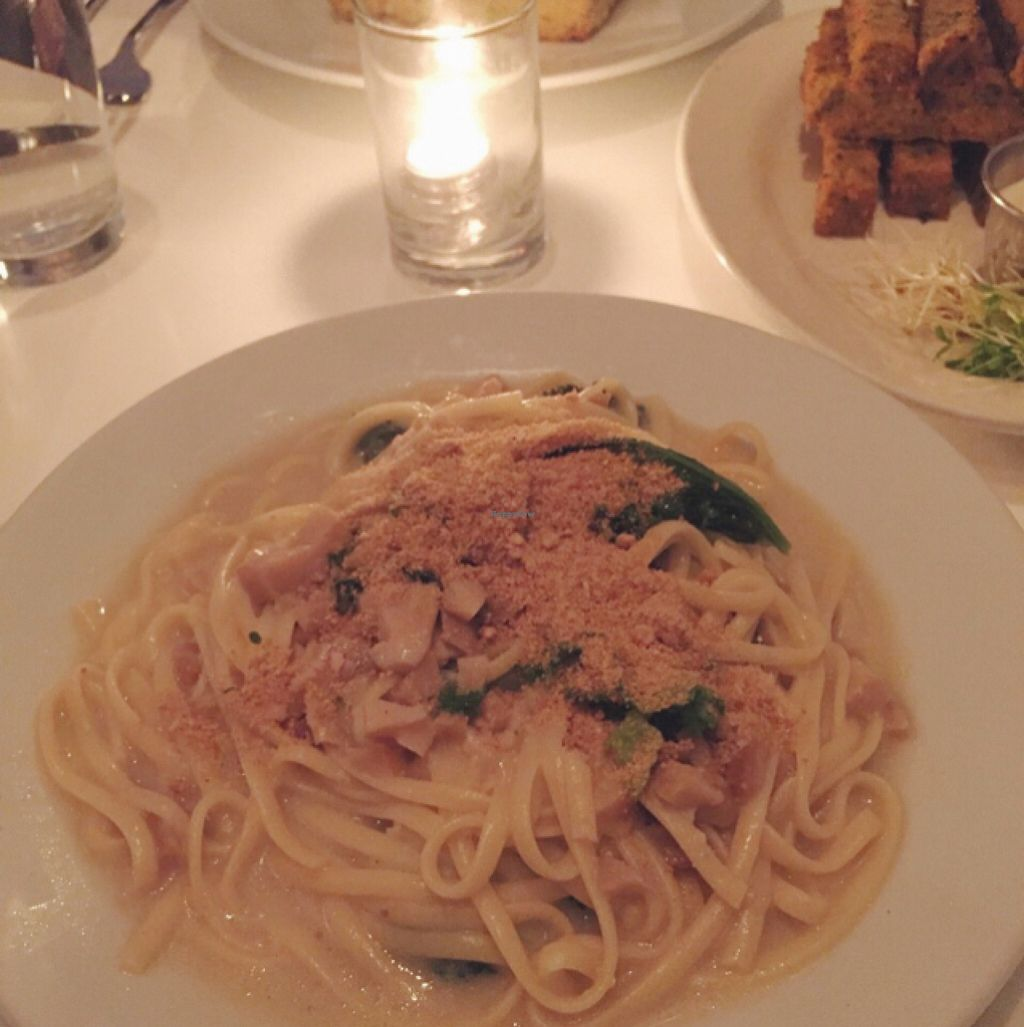 """Photo of Peacefood Cafe - Downtown  by <a href=""""/members/profile/Sassburger"""">Sassburger</a> <br/>Clam Linguine with a side of Chickpea Fries  <br/> December 2, 2015  - <a href='/contact/abuse/image/37453/126914'>Report</a>"""