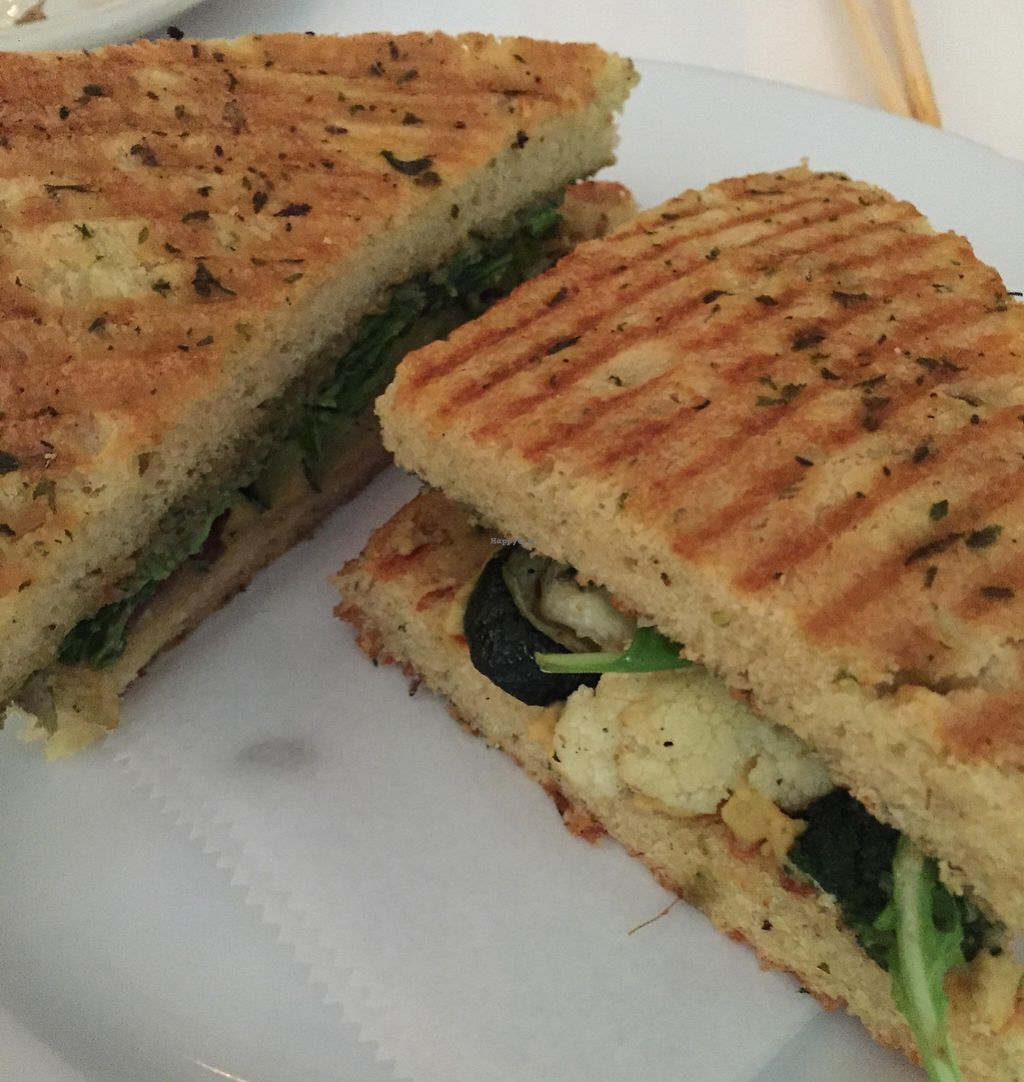 """Photo of Peacefood Cafe - Downtown  by <a href=""""/members/profile/Karenk"""">Karenk</a> <br/>Panini Mediterranean seasonal Vegetables  <br/> August 11, 2015  - <a href='/contact/abuse/image/37453/210704'>Report</a>"""