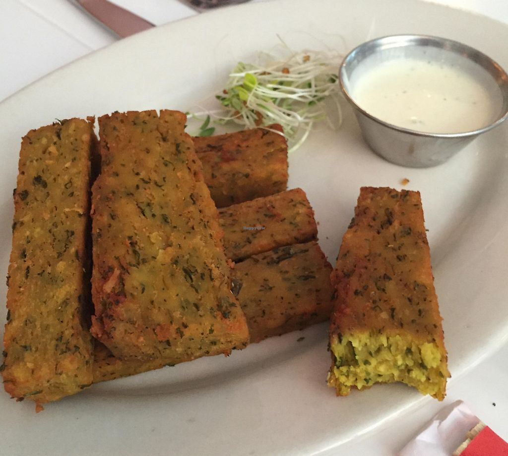 """Photo of Peacefood Cafe - Downtown  by <a href=""""/members/profile/Karenk"""">Karenk</a> <br/>Chickpea fries with cream sauce <br/> August 11, 2015  - <a href='/contact/abuse/image/37453/210705'>Report</a>"""