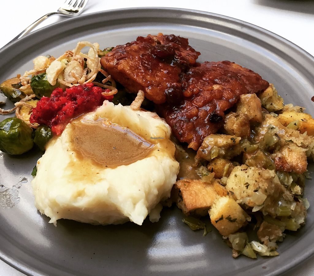 "Photo of Crossroads Kitchen  by <a href=""/members/profile/VeganCookieLover"">VeganCookieLover</a> <br/>Thanksgiving platter  <br/> November 26, 2017  - <a href='/contact/abuse/image/37466/329475'>Report</a>"