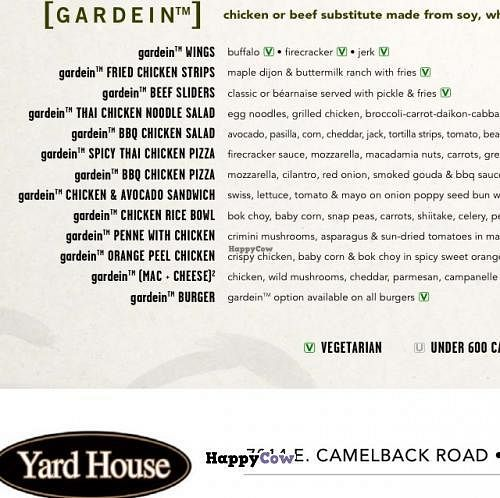 """Photo of Yard House  by <a href=""""/members/profile/Tigra220"""">Tigra220</a> <br/>copy of the Gardein section of the menu from the Scottsdale location <br/> August 10, 2013  - <a href='/contact/abuse/image/37507/53073'>Report</a>"""