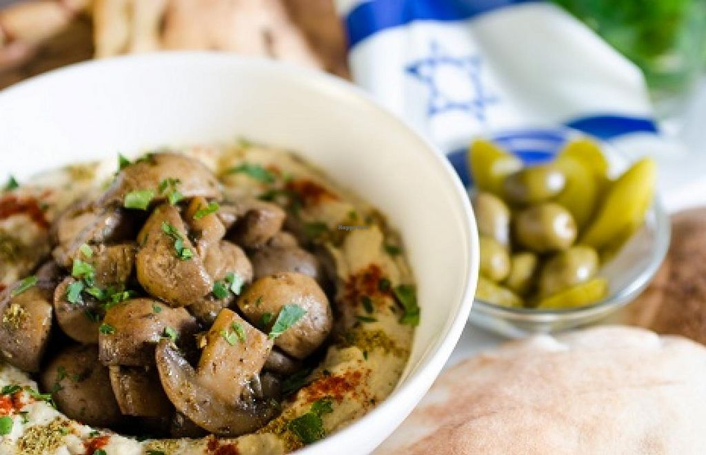 """Photo of Feinberg's  by <a href=""""/members/profile/Feinbergs%20Berlin"""">Feinbergs Berlin</a> <br/>Hummus with mushrooms <br/> March 21, 2015  - <a href='/contact/abuse/image/37533/96421'>Report</a>"""