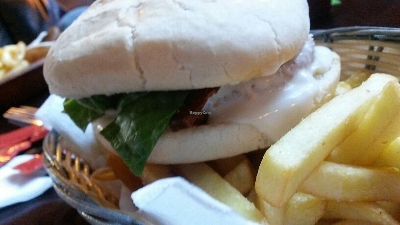 """Photo of The Gardener's Arms  by <a href=""""/members/profile/EstherColeman"""">EstherColeman</a> <br/>southern fried chicken burger with added tofu rashers and vegan cheese <br/> July 17, 2017  - <a href='/contact/abuse/image/3753/281555'>Report</a>"""