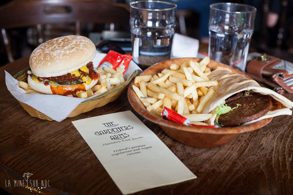 """Photo of The Gardener's Arms  by <a href=""""/members/profile/ilinca"""">ilinca</a> <br/>Vega burger + vegan wrap. Amazingly tasty and really good value.  <br/> September 1, 2014  - <a href='/contact/abuse/image/3753/78807'>Report</a>"""