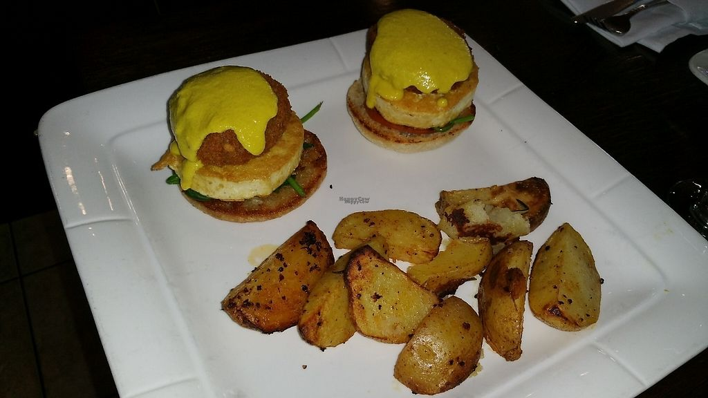 """Photo of 3 Brothers Pizza Cafe  by <a href=""""/members/profile/Brok%20O.%20Lee"""">Brok O. Lee</a> <br/>Vegan crab cakes with hollandaise <br/> December 10, 2016  - <a href='/contact/abuse/image/37545/199163'>Report</a>"""