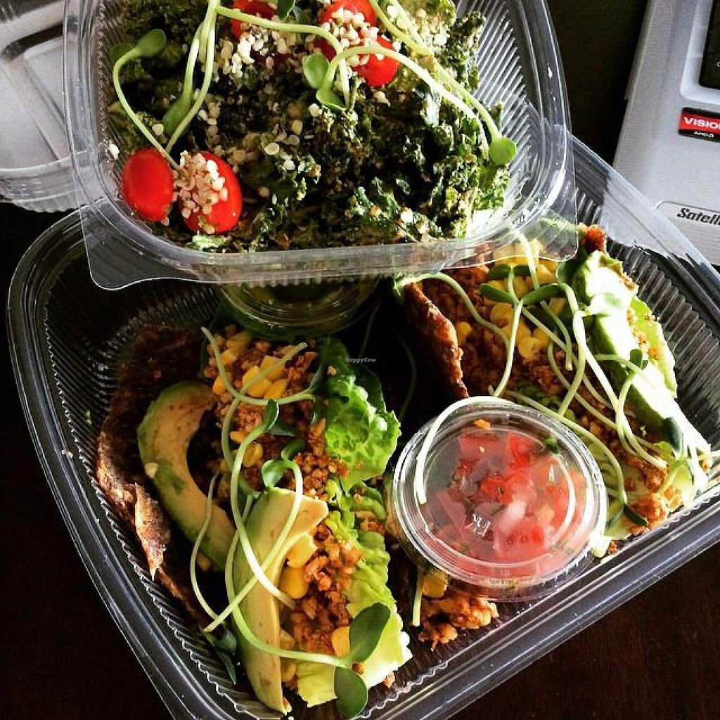"Photo of The Green Eatery  by <a href=""/members/profile/LMacK"">LMacK</a> <br/>My Kale salad and Vegan, raw tacos on onion wrap to go! <br/> June 4, 2015  - <a href='/contact/abuse/image/37561/104760'>Report</a>"