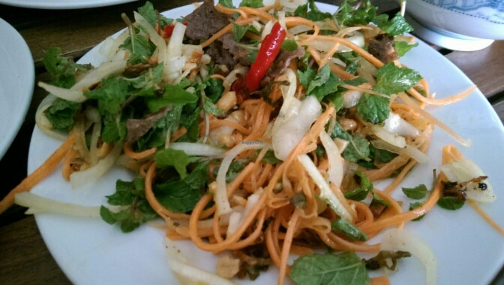 """Photo of Karma Waters Restaurant & Hostel  by <a href=""""/members/profile/Mene"""">Mene</a> <br/>spicy salad <br/> December 23, 2015  - <a href='/contact/abuse/image/37573/129557'>Report</a>"""